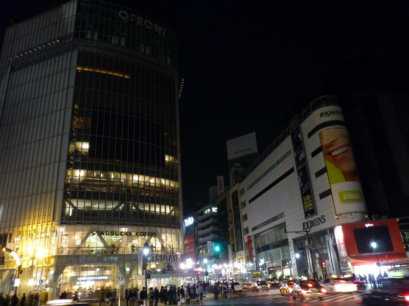 Darkened Shibuya Crossing