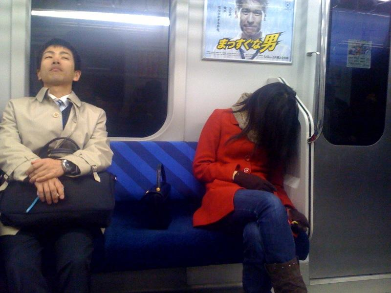 Sleeping on the train.